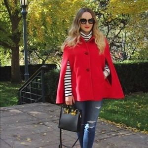 KATE SPADE Wool Capelet in Orient Red